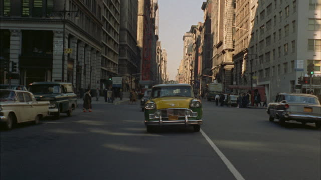 ws pov traffic on south down avenue from about 23rd street to 10th street / new york city, new york, usa - 1962 stock-videos und b-roll-filmmaterial