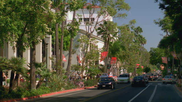 ms traffic on state street, central historic santa barbara / california, usa - santa barbara california stock videos & royalty-free footage
