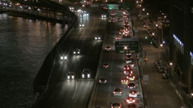 ms, ha, traffic on street along river, night, new york city, new york, usa - naga river stock videos and b-roll footage