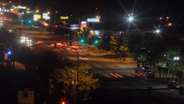 T/L, WS, HA, Traffic on street at night, Ogden, Utah, USA