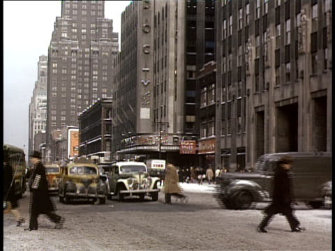 1940 ws traffic on street near radio city music hall / new york city, new york, usa - radio city music hall stock videos & royalty-free footage