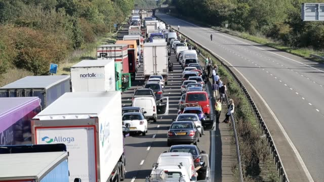 "traffic on the m1 - the northbound carriageway has reopened after a nine-hour security alert caused by a ""suspicious"" object containing a corrosive... - explosive material stock videos & royalty-free footage"