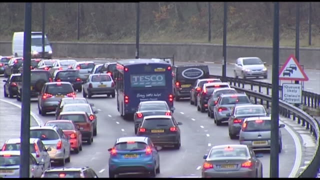 traffic on the m4 motorway - traffic jam stock videos & royalty-free footage