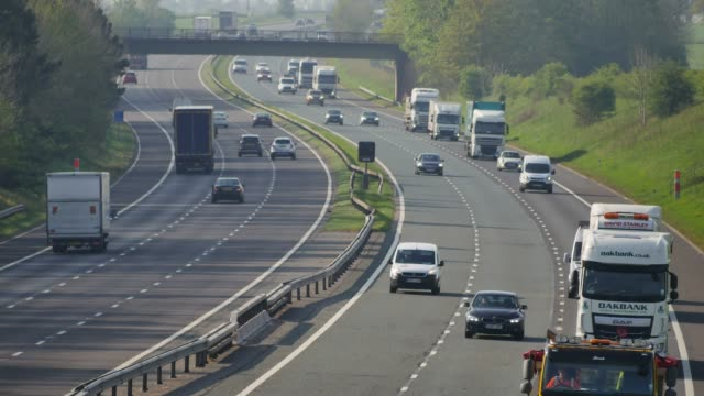 traffic on the m6 motorway near carlisle in cumbria england uk - safety stock videos & royalty-free footage