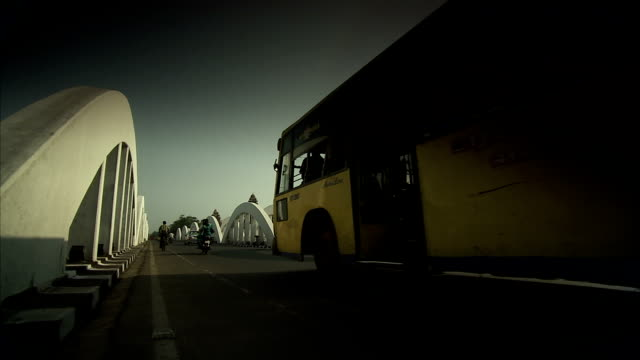 Traffic on the Napier Bridge in Channai, India. Available in HD