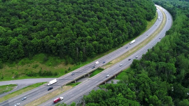 traffic on the new york state thruway - country road stock videos & royalty-free footage