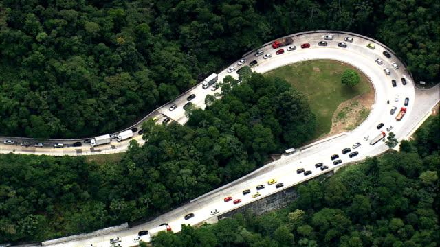 Traffic On the Santos Dumont Road  - Aerial View - Rio de Janeiro, Guapimirim, Brazil