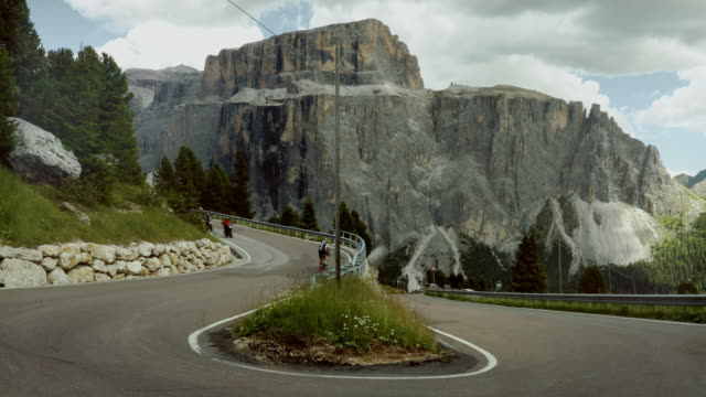 Traffic on the Sella mountain pass on the Dolomites
