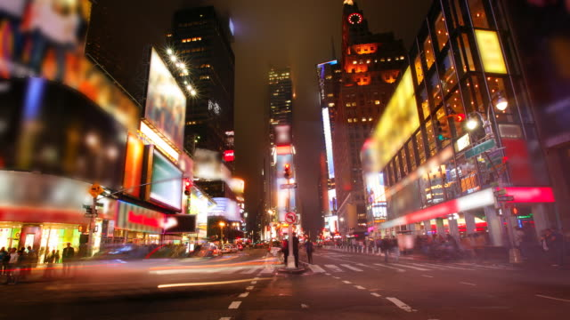 T/L, WS, Traffic on Times Square at night,  New York City, New York USA