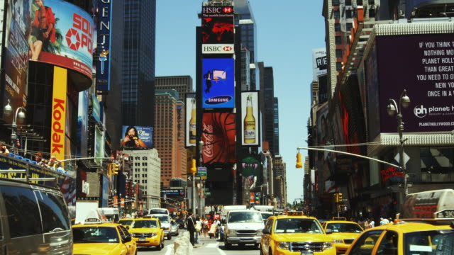 ms, traffic on times square, manhattan, new york city, new york, usa - billboard stock videos & royalty-free footage