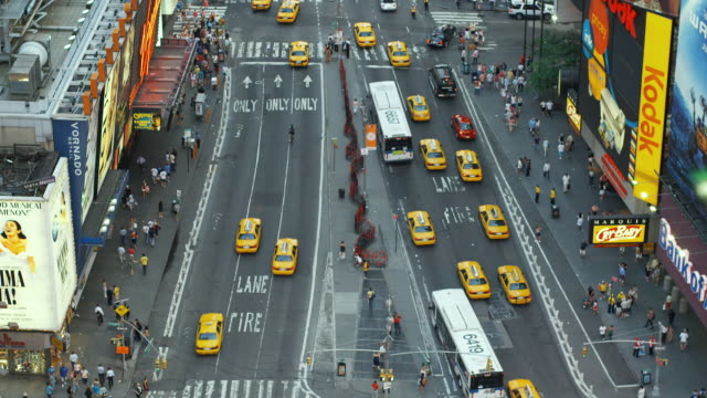 ws, ha, traffic on times square, manhattan, new york city, new york, usa - manhattan theater district stock videos and b-roll footage