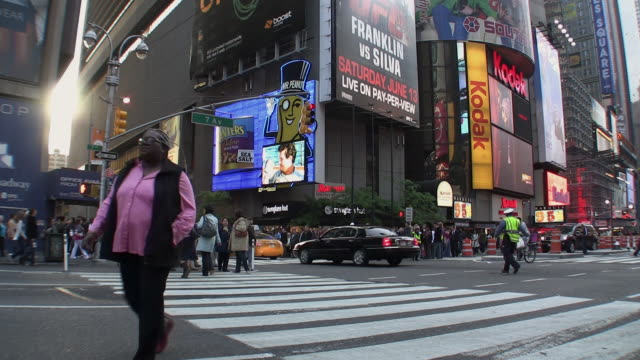 ms traffic on times square, new york city, new york, usa - commercial sign stock videos & royalty-free footage
