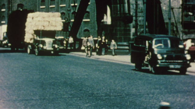 1956 ms traffic on tower bridge / london, england - london bridge england stock videos & royalty-free footage