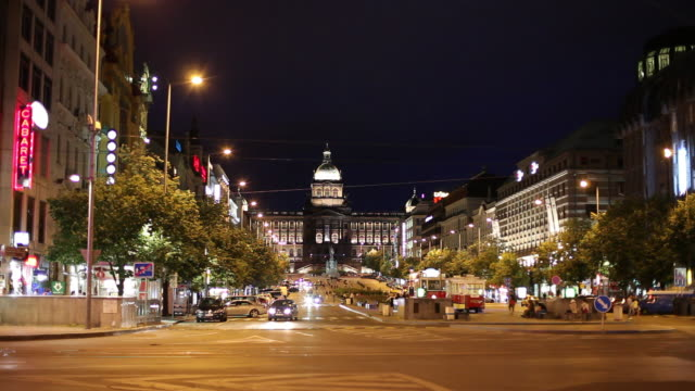 WS Traffic on Wenceslas Square at night / Prague, Czech Republic