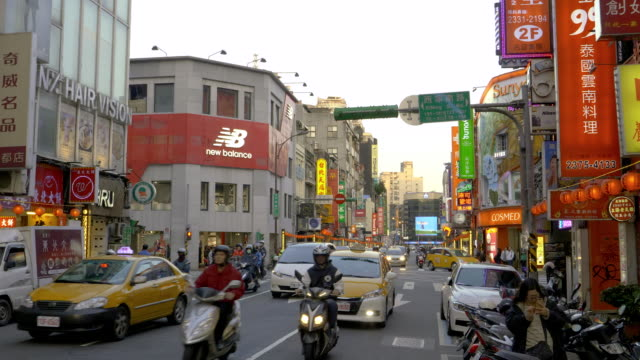 ws traffic on ximending street, taipei, taiwan - taipei stock videos & royalty-free footage