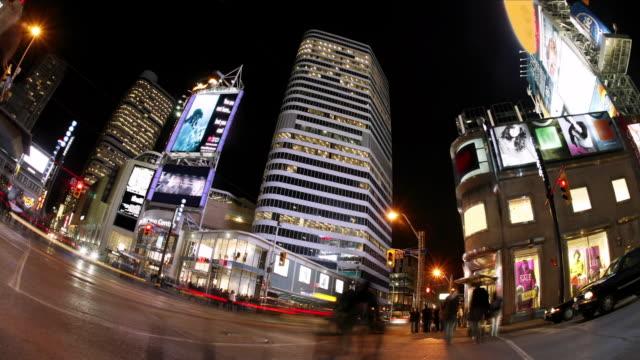 T/L, MS, FISH EYE, Traffic on Yonge-Dundas Square ay night, Toronto, Ontario, Canada