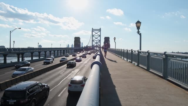 Traffic over the Benjamin Franklin Bridge between Camden NJ and Philadelphia PA