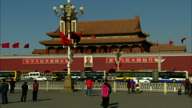 traffic passes the forbidden city in beijing. - forbidden city stock videos & royalty-free footage