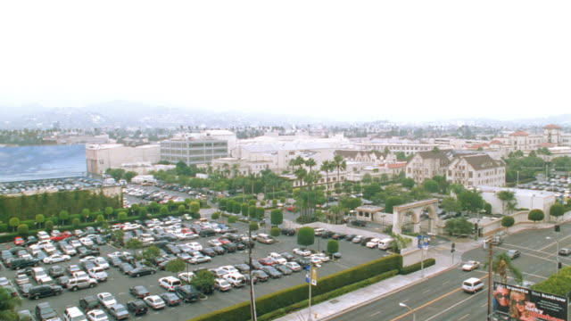 traffic passes  the studio lot of hollywood's paramount pictures. - paramount pictures stock videos & royalty-free footage