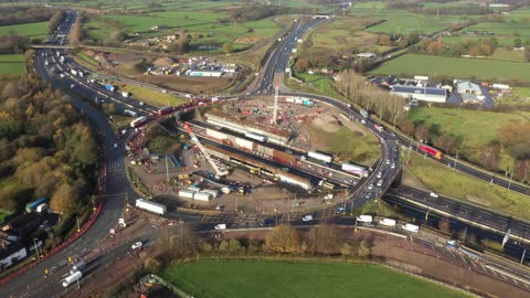 traffic passes through roadworks and junction improvements at junction 19 of the m6 motorway on november 25, 2020 in knutsford, england. chancellor... - number 6 stock videos & royalty-free footage