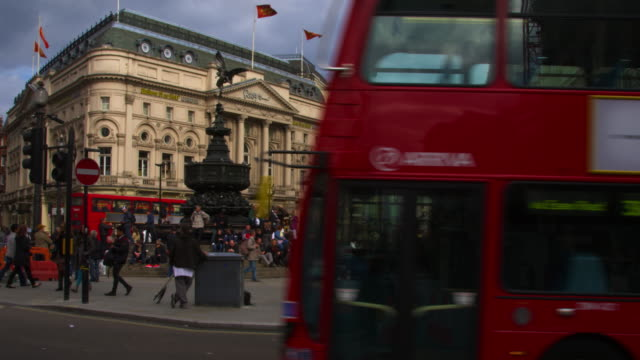 Traffic passing at Piccadilly Circus in London.