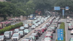 Traffic Passing By On Street In China High Angle
