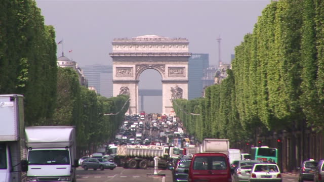 ws traffic passing on avenue des champs-elysees / paris, ile de france, france   - ile de france stock videos and b-roll footage