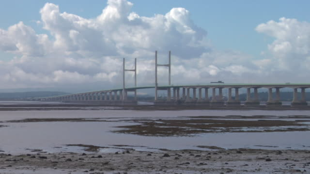 ws traffic passing over the severn bridge/ avon, england - river severn stock videos & royalty-free footage