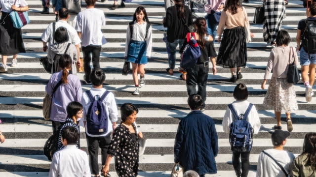 4k traffic t/l of people and transportation at zebra crossing - shibuya crossing stock videos & royalty-free footage