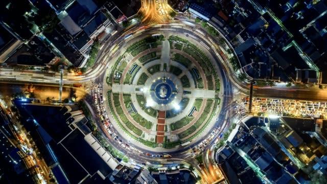 traffic road in bangkok at night . - traffic circle stock videos & royalty-free footage