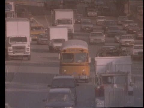 1990 montage traffic seen through smog, los angeles, california, usa, audio - 1990 stock videos & royalty-free footage