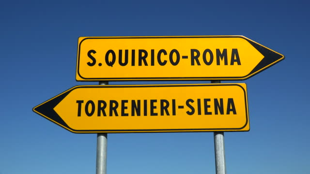 Traffic sign near San Quirico d'Orcia, Orcia Valley, Province of Siena, Tuscany, Italy