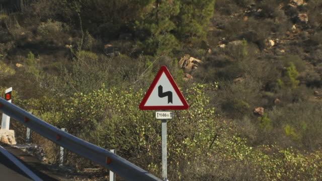 CU ZO PAN WS Traffic sign on empty mountain road / Gran Canaria, Spain