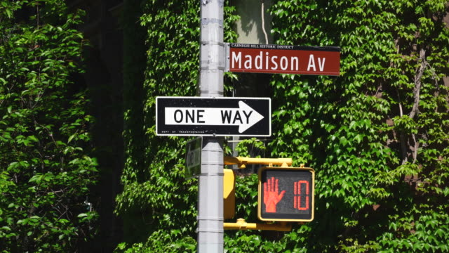 traffic signal stands in front of green vine at upper madison avenue manhattan new york. - one way stock videos & royalty-free footage