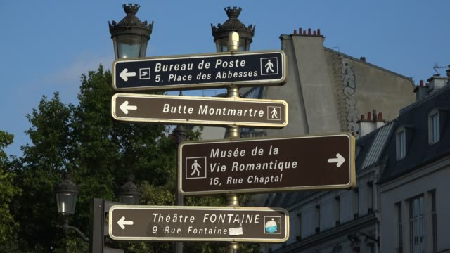 traffic signs, paris, france, europe - road sign stock videos & royalty-free footage
