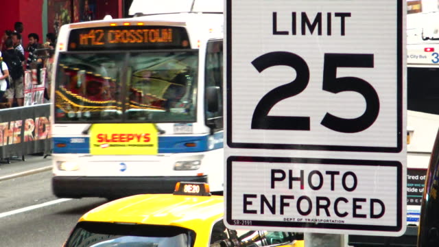 traffic signs, times square, new york city - speed limit sign stock videos & royalty-free footage