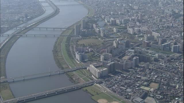 Traffic streams across bridges that span the Arakawa River  and levee in Tokyo.