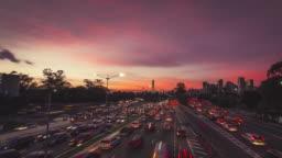 Traffic Sunset Timelapse Video