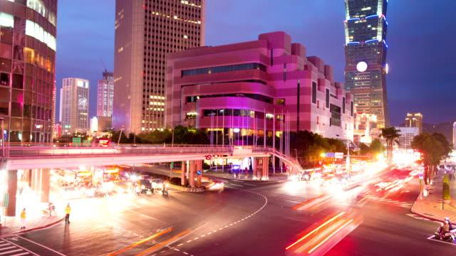 Verkehr in modernen Stadt Taipeh, Zeitraffer