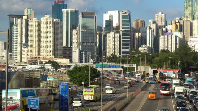 traffic time lapse in hong kong island, china - hong kong island stock videos & royalty-free footage