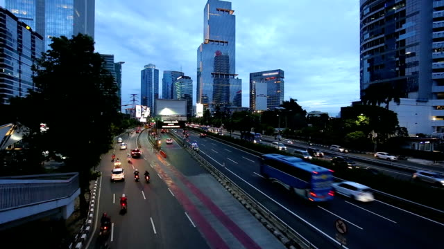 Traffic time lapse in Jakarta business district in Indonesia capital city