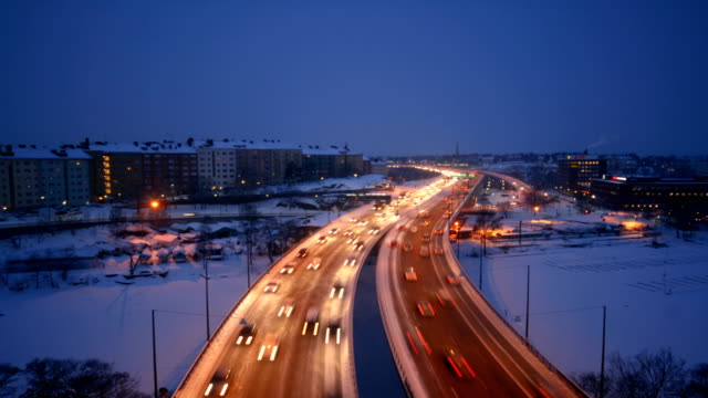 traffic time lapse - winter stock videos & royalty-free footage