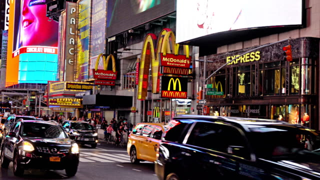 traffic time square. mcdonald's - mcdonald's stock videos & royalty-free footage