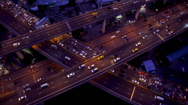traffic top view at night video 4k. - city street sign stock videos and b-roll footage