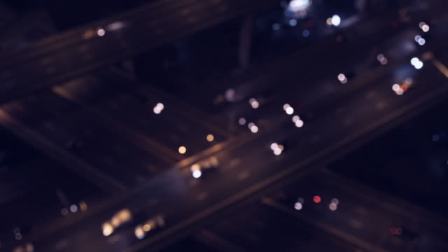 traffic top view at night video 4k. - road intersection stock videos & royalty-free footage