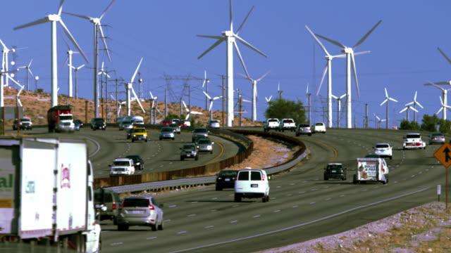 Traffic travels past a wind farm along Interstate 10 near the San Gorgonio Pass in California.