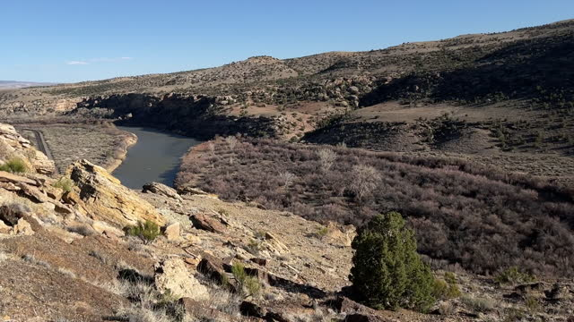 trail overlooking gunnison river hike features individual vistas in wilderness area in arid climate 4k video - gunnison stock videos & royalty-free footage
