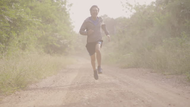 Trail Runner Running in Dust. This is bad for breath