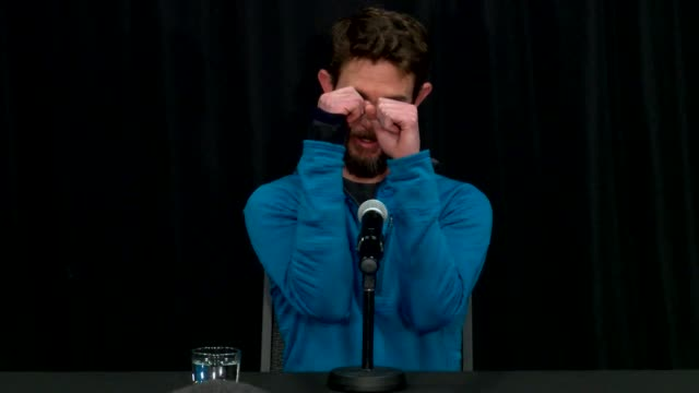 trail runner travis kauffman is in the press conference at fort collins marriott feb 14 2019 kauffman survived a mountain lion attack and then killed... - animal neck stock videos & royalty-free footage