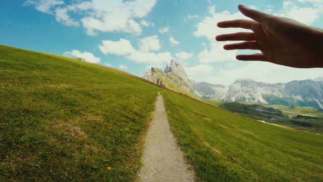 trail running on the dolomites pov - val di fassa stock videos and b-roll footage